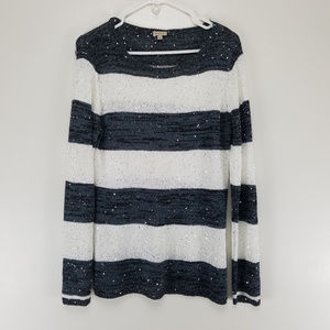 Cremieux Womens Large Sweater Striped Gray Ivory